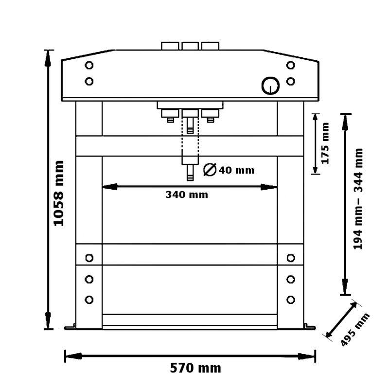 Unicraft WPP 10 TE - rysunek techniczny, wymiary