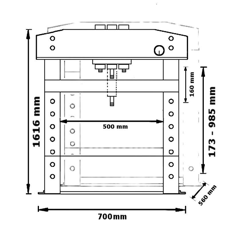 Unicraft WPP 15 E - rysunek techniczny, wymiary