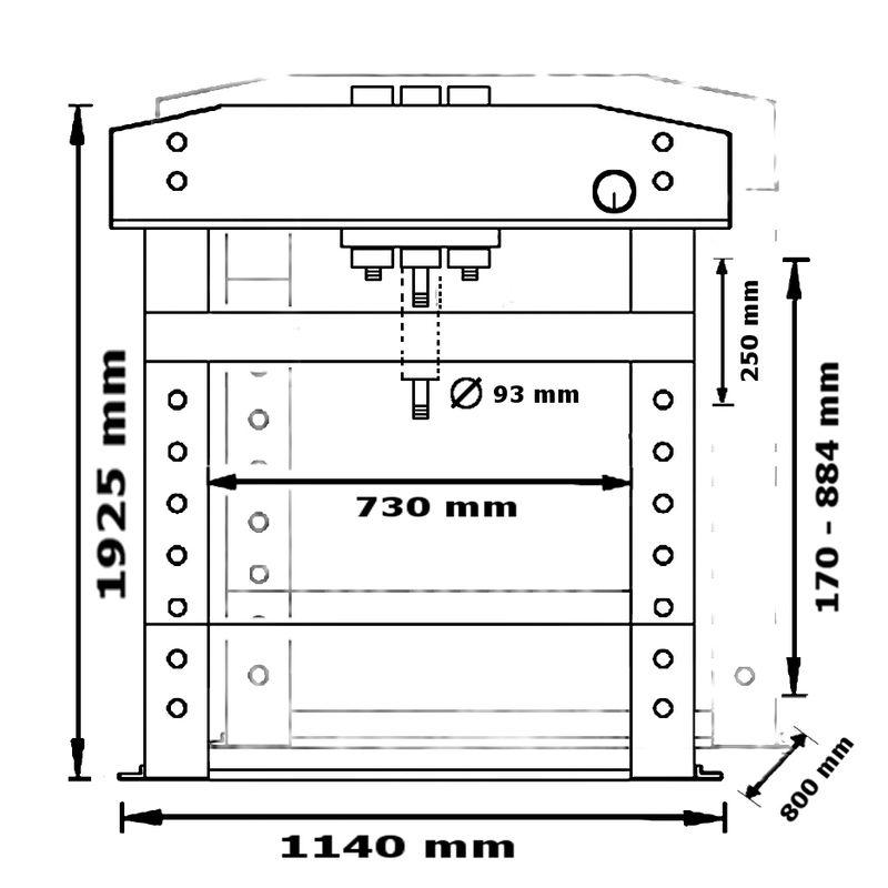 Unicraft WPP 75 E - rysunek techniczny, wymiary