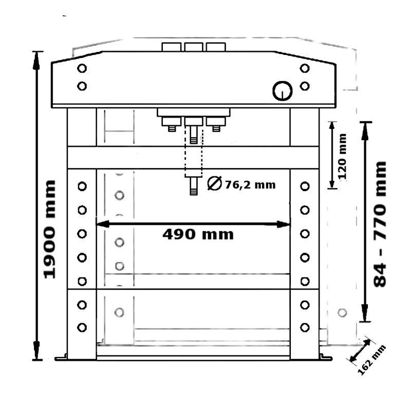 Unicraft WPP 50 BPH TOP - rysunek techniczny, wymiary