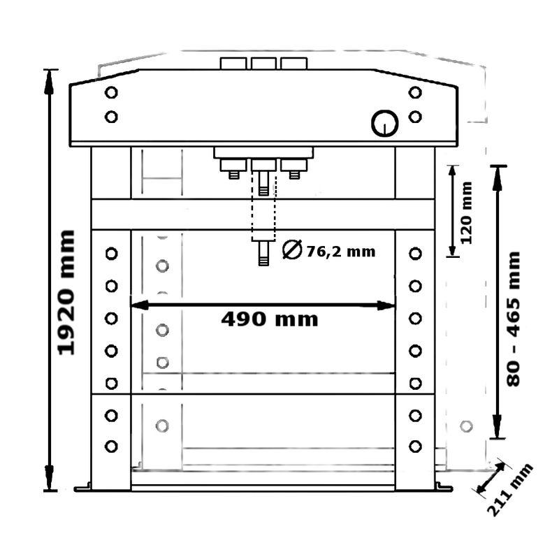 Unicraft WPP 50 BPF TOP - rysunek techniczny, wymiary