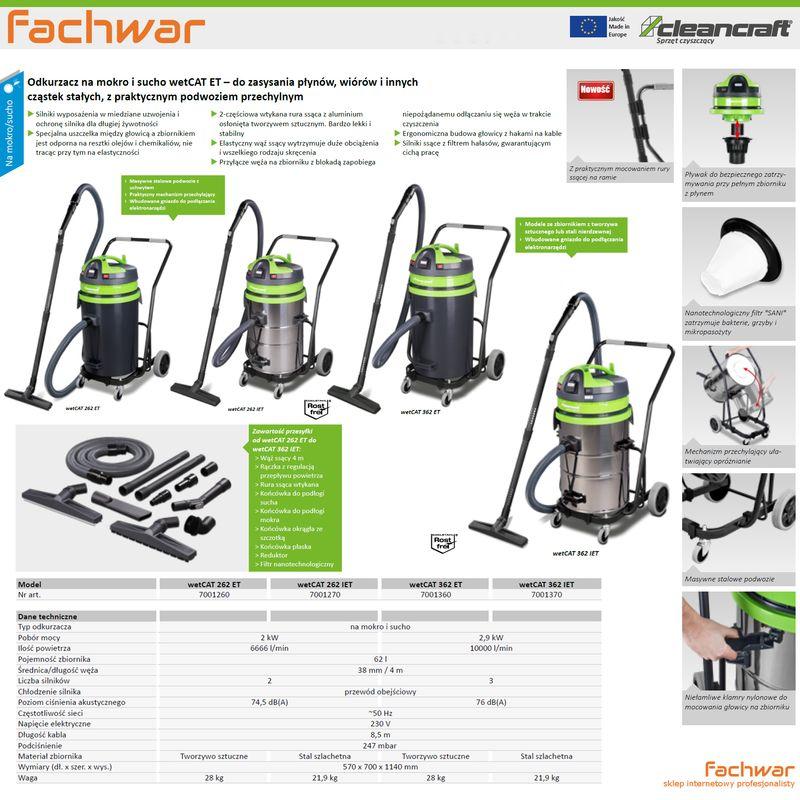 Cleancraft wetCAT 262 ET - karta katalogowa