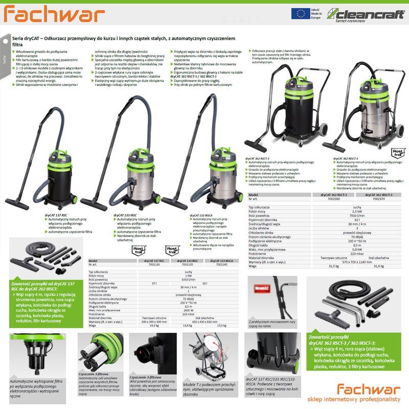 Cleancraft dryCAT 133 IRSC - karta katalogowa Cleancraft dryCAT